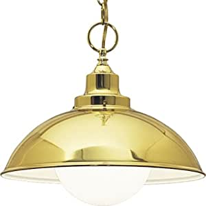 Progress Lighting P4295-10 1-Light Pendant with White Glass Globe with White Inner-Lined Metal Shade, Polished Brass