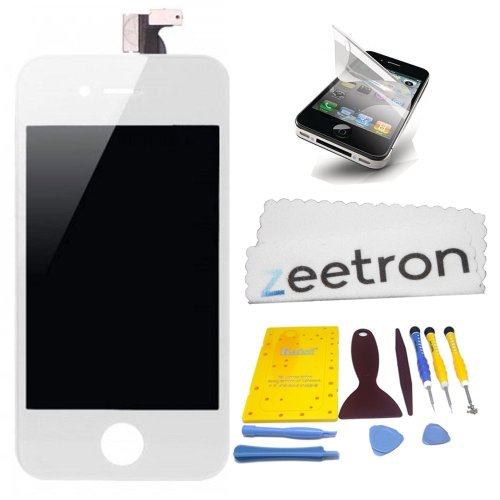 Zeetron Iphone 4 White Premium Screen Repair Kit For At&T Only (Full Tool Kit + Screen Protector + Zeetron Cloth)