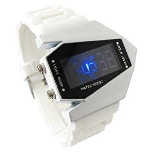 YouYouPifa Airplane Style Digital Display LED Rubber Strap Wrist Watch (White)