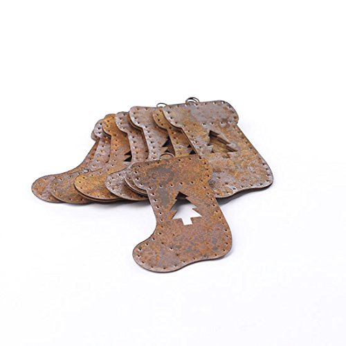 Rusty Tin Stocking Shape Ornaments