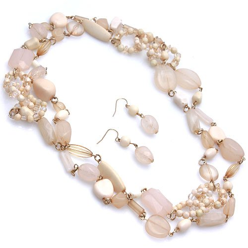 Long 60 Inch Beige and Ivory Beaded Necklace Set