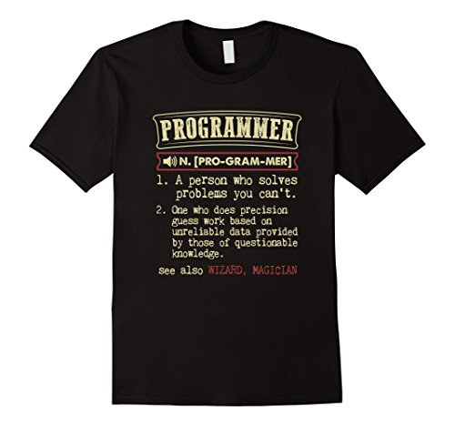 Men's Programmer Funny Dictionary Definition T-Shirt Medium Black