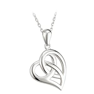 Small Celtic Knot Heart Necklace Silver Irish Made