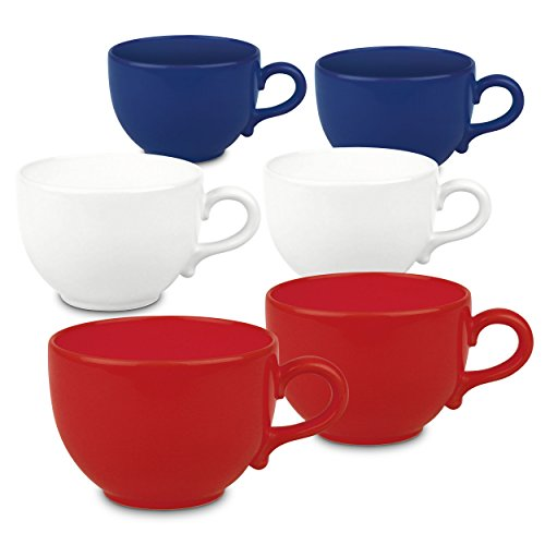 Waechtersbach Fun Factory Jumbo Cafe Latte Mugs, Red, White and Blue, Set of 6