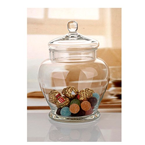 Elegant Clear Glass Apothecary Jar with Lid -11-inch High Glass Canister-Decorative & Party Centerpiece (Christmas Glass Jars compare prices)