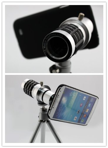 Big Dragonfly Samsung Galaxy S4 I9500 Camera Lens Kit Includes / 12 X Telephoto Manual Focus Telescope Camera Lens / 1 Mini Tripod / 1 Flexible Universial Holder / 1 Special Protection Case For Samsung Galaxy Siv / 1 Cleaning Cloth / 1 Black Pouch Include