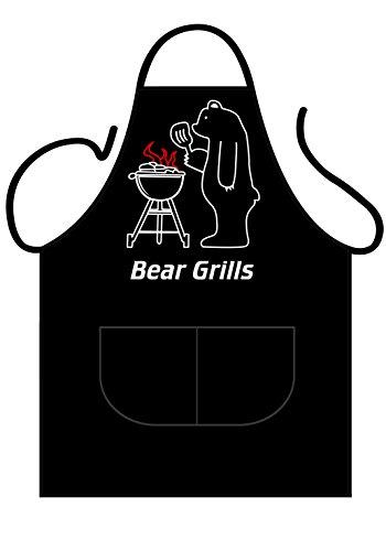 """ICONIC APRONS - Grembiule da uomo, motivo frontale """"Bear Grills"""", per cucina, forno e barbecue, colore: nero"""