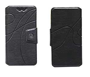 J Cover Oscar Series Leather Pouch Flip Case With Silicon Holder For Samsung Galaxy Grand Prime Black
