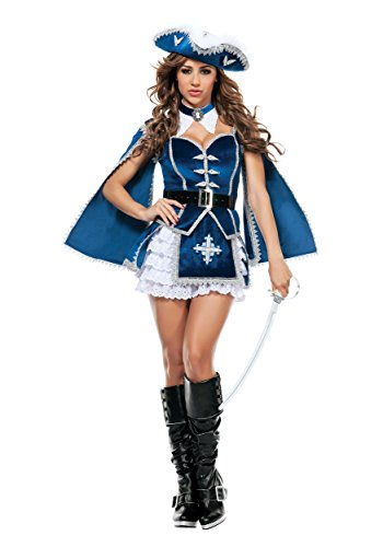 [Starline Women's All For You Musketeer Sexy Costume Set, Blue/Silver, X-Large] (Musketeer Sword Costume)
