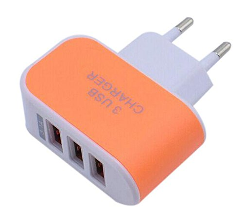 Distinct® Universal 3 Ports EU Plug 3.1A LED Chargeur de Voyage adaptateur (Orange)