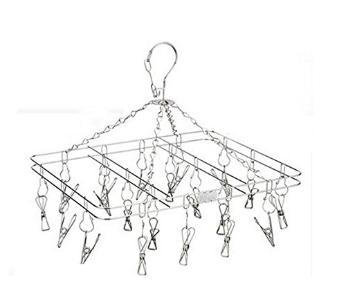 IBEET-Hanger-Rack-Set-of-20-Clip-and-Drip-Stainless-Steel-Drying-Racks-Perfect-for-Hanging-Clothes-Towels-Socks-Laundry-Clothesline