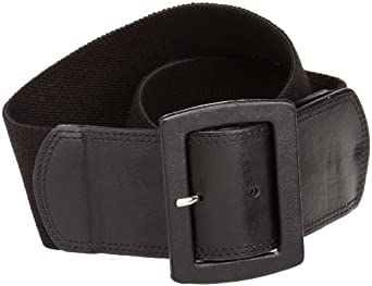Calvin Klein Women's Linen Stretch Belt,Black,Large/X-Large