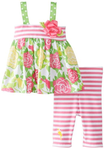 Bonnie Baby Baby-Girls Infant Stripe And Print Legging Set, Pink, 24 Months front-957866