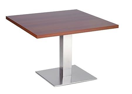 Daniella 50cm tavolino da caffè quadrato con base in acciaio inox spazzolato Brown