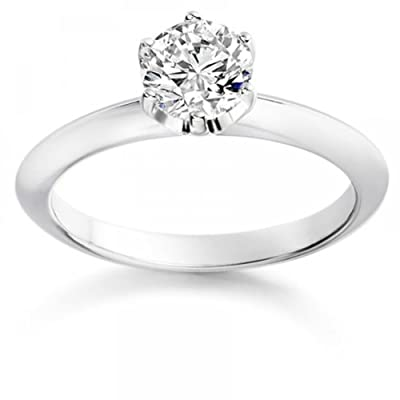 0.26 Carat E/VS1 Round Brilliant Certified Diamond Solitaire Engagement Ring in 18k White Gold