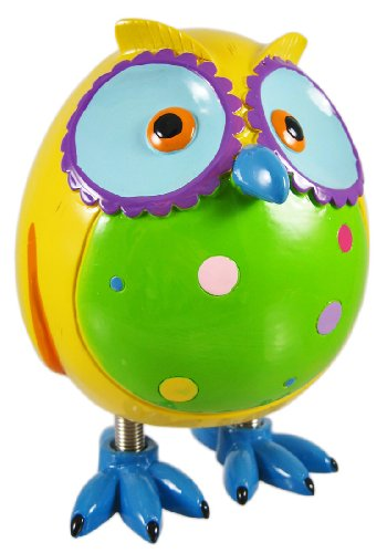 Super Cute Yellow Owl Piggy Bank W/ Spring Legs Money by Blowfish