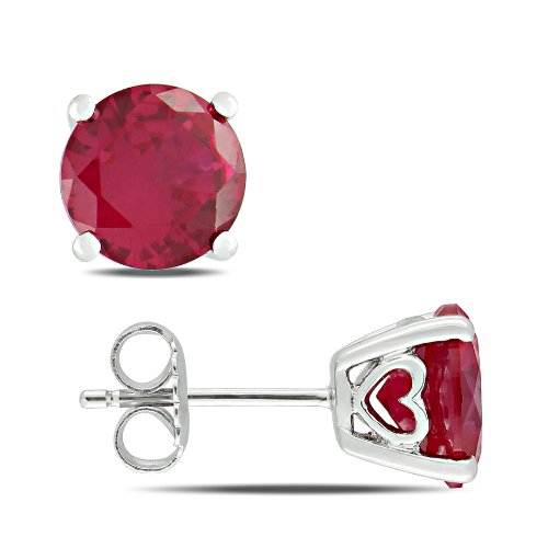 Sterling Silver 4 4/5 CT TGW Created Ruby Stud Earrings