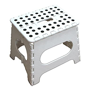 Jeronic 11 Inches Super Strong Folding Step Stool for Adults and Kids, White Kitchen Stepping Stools, Garden Step Stool, holds up to 300 LBS