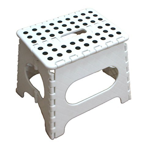 Jeronic 11 Inch Plastic Folding Step Stool Black Hardware