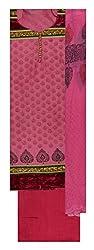 Punjaban Boutique Women's Chanderi Cotton Unstitched Dress Material (Pink)
