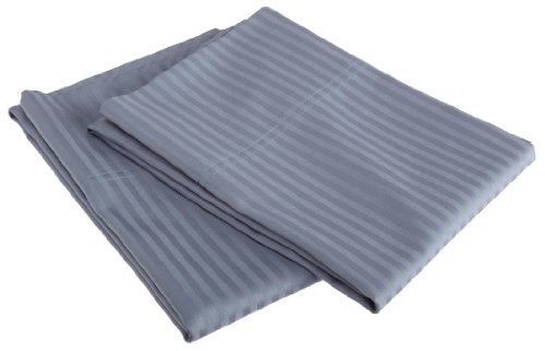 Divatex 400 Thread Count Woven Dobby Stripe Cotton Sateen Standard Pillow Case Pairs, Flintstone Blue