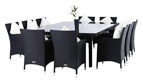 Outflexx Esstisch 230 x 160 cm mit 10 Stühl, Polyrattan w1, schwarz jetzt kaufen