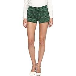 Annapoliss Women's Poly Cotton Shorts (ANWT15_Green_Medium)