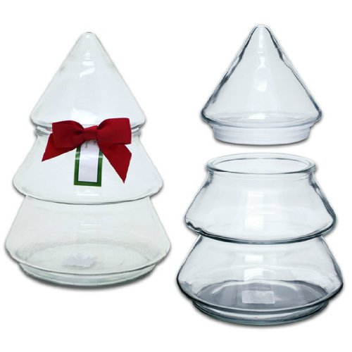 Christmas Tree Glass Jar with Bow, by Anchor Hocking (Christmas Glass Jars compare prices)