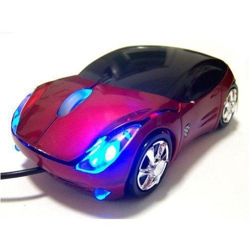 SODIAL(Wz.) Ferrari Auto-Form Optische USB Maus Mouse Computermaus in Rot