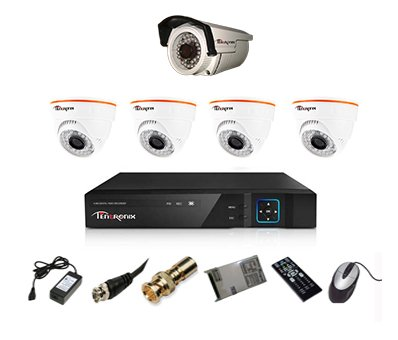 Tentronix T-8ACH-5-D4B1A10 8-Channel AHD Dvr, 4(1MP/36IR) Dome, 1(1MP/36IR) Bullet Cameras (With Accessories)