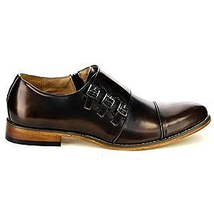 UV SIGNATURE EA27 Men's Chic Cap Toe Monk Strap Dress Shoes Run Half Size Big, Color:BRASS, Size:10.5