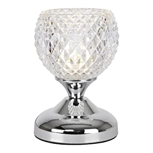 Modern Silver Chrome & Decorative Glass Bedside Touch Table Lamp