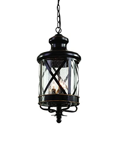 Bel Air Lighting 3-Light Hanging Lantern, Rubbed Oil Bronze