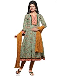 Pastle Green Cotton Printed Anarkali Suit