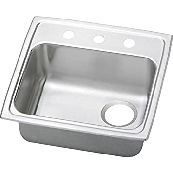 Elkao|#Elkay PSRADQ191955ROS4 20 Gauge Stainless Steel 19.5 Inch x 19 Inch x 5.Inch single Bowl Top Mount Kitchen Sink, Right Drain, 4 Faucet Holes,