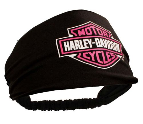 Harley-Davidson Womens Scrunchie Pink Bar & Shield Black Headband HE30291