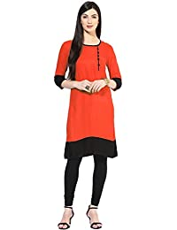 Vipul Women's Branded Orange & Black Casual Wear Cotton Kurti (Best Gift For Mummy Mom Wife Girl Friend, Offers...