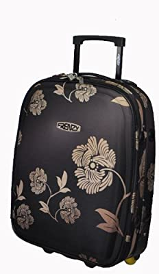 "Frenzy® Small 19"" Floral Pattern Lightweight Cabin Size Carry On Luggage Suitcase Trolley Bag, 48x34x17cm, weight 2.22Kg, capacity 28L (Black)"