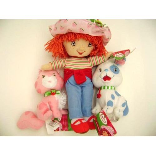 Strawberry Shortcake Classic Plush Doll with Custard Cat and Pupcake Dog Stuffed Toy, Great gift idea.
