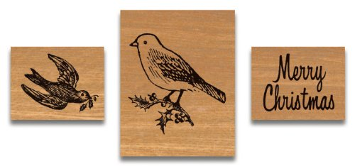 Cavallini & Co. Christmas Birds Designed Wooden Rubber Stamp Set in a Tin - Assorted (Pack of 3)