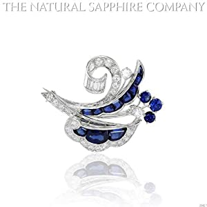 Natural Sapphire Brooch diamonds 1.25ct. total. (J3417)