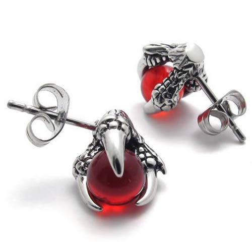 Konov Jewellery Dragon Claw Stainless Steel Mens Stud Earrings Set, 1 Pair 2pcs, Color Silver Red (with Gift Bag)