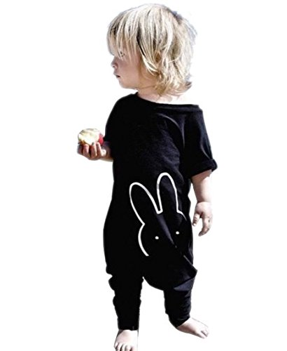 Baby Boy Girl Romper Bunny Printed Short Sleeve Jumpsuit Zipper Playsuit Outfits