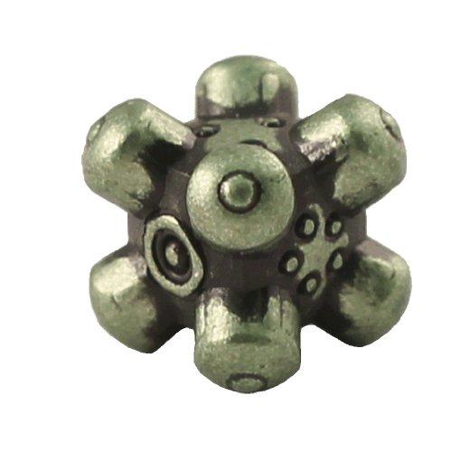 1 (One) Single IronDie: Solid Metal Italian Dice - Green Barrier (Die-Cast Designer Six-Sided Die / d6)