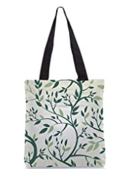 Snoogg Vector Seamless Pattern With Branches Designer Poly Canvas Tote Bag