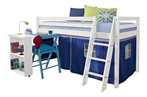 Cabin Bed with Desk in BLUE & Mattress , WHITE Bed with Tent BLUE WG+MATTRESS