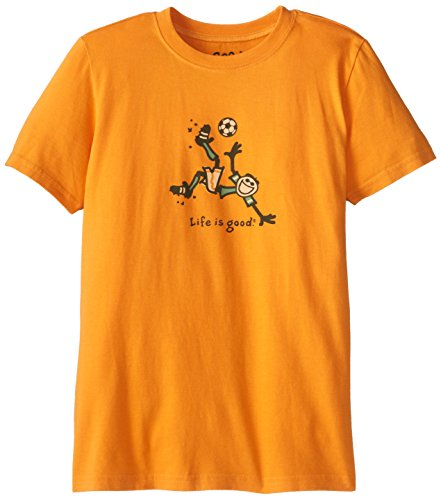 Life Is Good Boy'S Bike Kick Soccer Easy Tee (Curry Gold), Small
