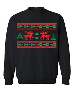 Festive Threads Ugly Christmas Sweater Design (Moose Design) Adult Sweatshirt (Black, Medium)