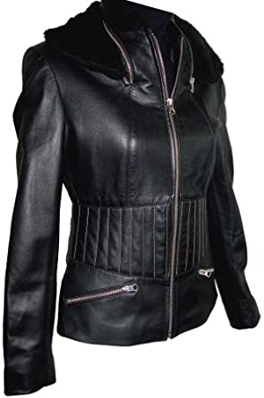 40311 Genuine Black Soft Supple Light Lambskin Real Leather Casual Short Motorcycle Jacket, YKK Original Zipper Front, Stand Collar, Concealed Fake Fur Ear Warmer, Multi Stitched Waist, Zippered Pocket, Lined, Slim Fit, No Insulation, Petite Regular Plus Size (0P)
