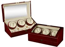 Burgundy Wood Finish 6 Watch Winder With 7 Additional Watch Storage Spaces, Three Turntable With 4 Program Settings.